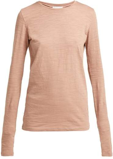Raey Long Sleeved Slubby Cotton Jersey T Shirt - Womens - Pink