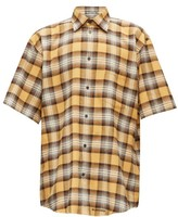 Balenciaga Logo-embroidered Checked Cotton Shirt - Mens - Black Brown