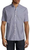 Zachary Prell Gingham Short-Sleeve Woven Shirt, Dark Blue