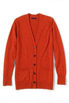 Classic Women's Petite Merino V-neck Cardigan Sweater-Zesty Orange