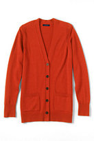 Classic Women's Plus Size Merino V-neck Cardigan Sweater-Zesty Orange