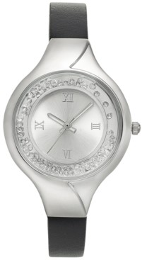Style&Co. Style & Co Women's Shaky Crystal Black Faux Leather Strap Watch 33mm, Created for Macy's