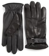 Burberry House Check-Embossed Leather Gloves
