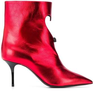 MSGM heart cut-out metallic boots