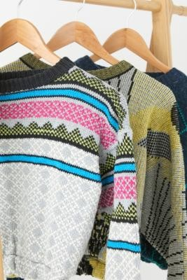 Urban Renewal Vintage Remade From Vintage Patterned Knitted Jumper - Grey XS/S at Urban Outfitters