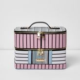 River Island Womens Pink and blue stripe vanity case