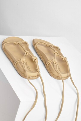 boohoo Leather Knot Detail Wrap Strap Espadrilles