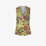 Gucci V-Neck Floral Snake Print Waistcoat with Contrast Back