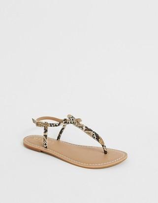Office Samba snake studded toe thong sandals-Multi