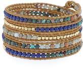 Chan Luu Aqua Terra Mix of Semi Precious Stones and Nuggets on Tan Leather Wrap Bracelet