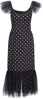 STAUD Marwa Polka Dot Flounce Midi Dress
