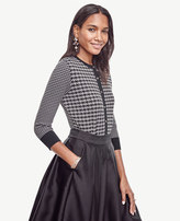 Ann Taylor Petite Houndstooth Cropped Ann Cardigan