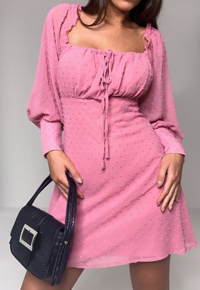 Missguided Pink Dobby Square Neck Long Sleeve Dress