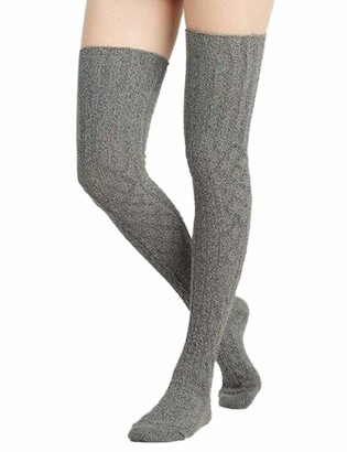 N / D Women Cable Knit Thigh High Boot Socks Extra Long Winter Stockings Leg Warmers (Dark Grey 22 * 66CM)