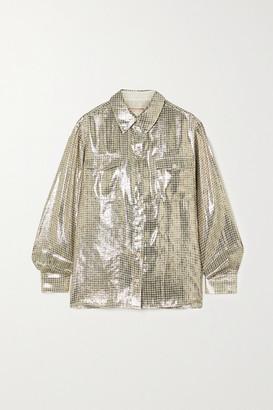 ALEXACHUNG Metallic Checked Silk-blend Shirt - Gold