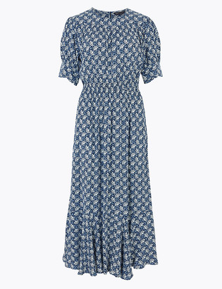 Marks and Spencer Printed Yoke Midi Waisted Dress