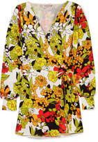 ATTICO Floral-print Crepe Wrap Dress - Yellow