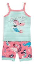 Hatley Toddler's, Little Girl's & Girl's Two-Piece Mermaid Embroidered Tank & Shorts Pajama Set