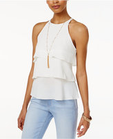 Amy Byer Juniors' Tiered Ruffle Top with Necklace