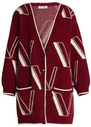 Valentino Large V Intarsia Cashmere & Wool Knit Cardigan