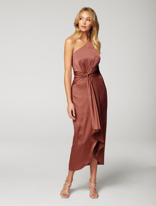 Forever New Haidee One-Shoulder Midi Dress - Rose Rust - 12