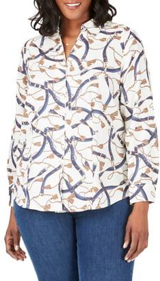 Foxcroft Lauren Belts & Tassels Button Front Shirt