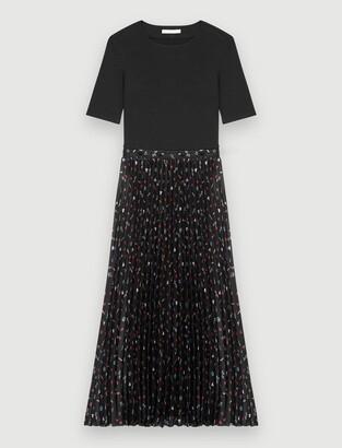 Maje Trompe lil jersey and plissee dress