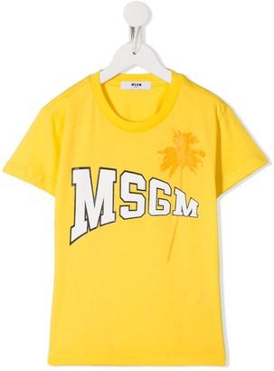 Msgm Kids palm tree logo T-shirt