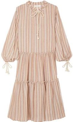 See by Chloe Bow-detailed Striped Gauze Midi Dress