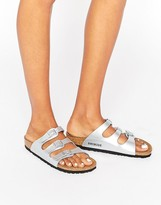 Birkenstock Florida Silver Narrow Fit Flat Sandals