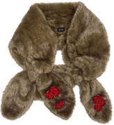 Simone Rocha Beige Faux-Fur Beaded Double Bow Scarf