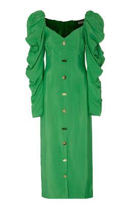 REJINA PYO Betty Button-Embellished Gathered Twill Midi Dress
