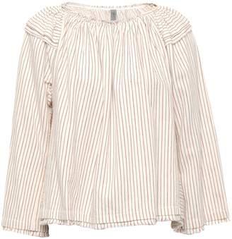 Raquel Allegra Frayed Striped Cotton-poplin Top