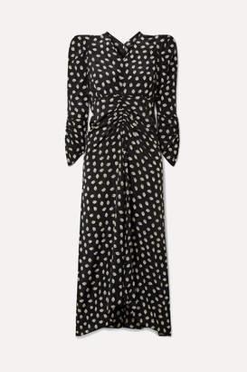 Isabel Marant Albi Ruched Floral-print Silk-crepe Midi Dress - Black