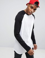 Asos Super Longline Long Sleeve T-Shirt With Contrast Raglan And Curved Hem