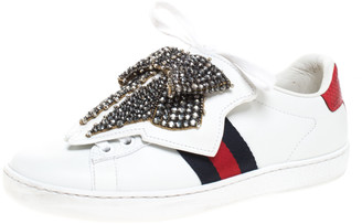 Gucci White Leather Ace Beaded Bow Lace Up Sneakers Size 35