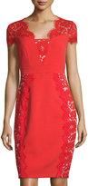 Jax Cap-Sleeve Lace-Panel Sheath Dress, Red