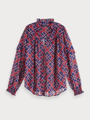 Scotch & Soda Sheer Printed Blouse in Red Blue - xs
