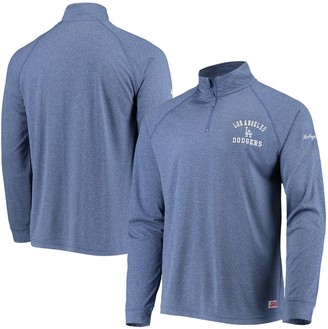 Stitches Men's Heathered Royal Los Angeles Dodgers Team Quarter-Zip Raglan Pullover Jacket