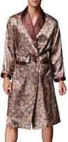 FLYCHEN Men's Satin Robe Floral Kimono Loungewear Lightweight