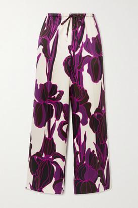 Dries Van Noten Floral-print Silk Wide-leg Pants - Purple