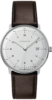 Junghans 041/4461.00 Max Bill Stainless Steel Leather Strap Watch, Brown/white