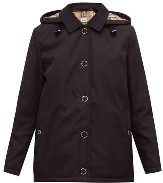 Burberry Southport Check Lined Twill Rain Jacket - Womens - Black