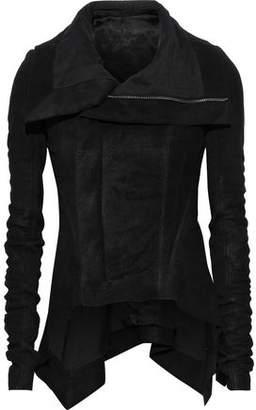 Rick Owens Naska Ribbed Knit-paneled Coated Leather Biker Jacket