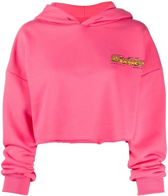 Misbhv Cropped Embroidered Logo Hoodie