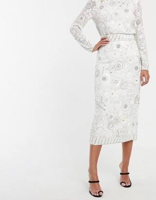 Asos Edition EDITION floral embellished midi pencil skirt-White