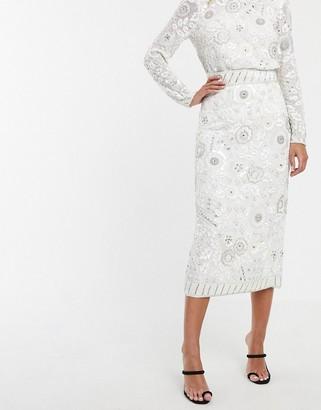 ASOS EDITION floral embellished midi pencil skirt