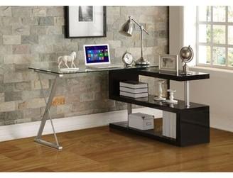Latitude Run Phalangere Glass Desk Color: Black
