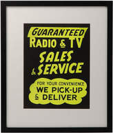 Rejuvenation Framed NOS Yellow Radio and TV Sign