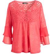 August Silk Aurora Rose Sheer Ruffle-Sleeve Empire-Waist Top